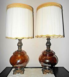 Gwtw Pair Vintage 3-way Fancy Scallop Carnival Amber Glass Hurricane Table Lamps