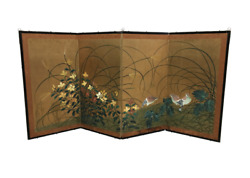 Vintage Japanese Style Painted Folding Screen With Birds And Florals