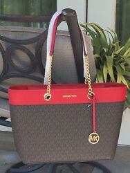 MICHAEL KORS WOMEN LARGE CHAIN SHOULDER TOTE BAG BROWN MK SIGNATURE LEATHER RED $129.99