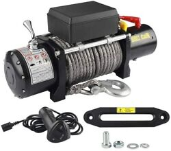 12v 12000lbs Synthetic Rope Waterproof Electric Winch Kit Off-road Atv Utv Track