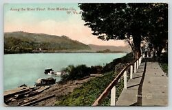 New Martinsville Wvwooden Sidewalk W/railing Along The Ohio Riverboats1908 Pc