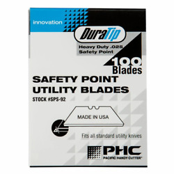 Pacific Handy Cutter Sps-92 Duratip .025 Safety Point Utility Blades Box Of 100