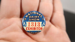 1914 National Dairy Show Exhibitor Chicago Button Pin
