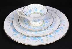 Vintage Coalport Bone China Harebell Dinnerware Dinner Bread Plate Cup And Saucer