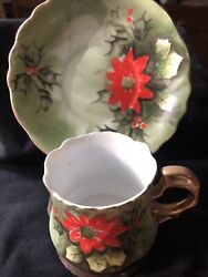 Vintage Lefton China Poinsetta Holly Christmas Tea Cup And Saucer