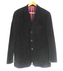 Stonehouse Sportcoat Black Cotton Velvet 3 Button 2 Vents Made In Canada Size42r