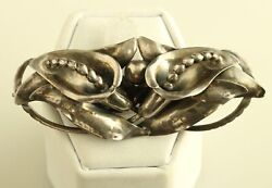 Vintage Peer Smed Hand Wrought Sterling Silver Two Calla Lily Brooch Pin