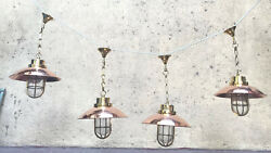 Nautical Mid Century Hanging Bulkhead Brass And Copper Shade Light Lot Of 5
