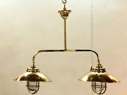 Nautical Ship Marine Solid Brass Hanging Retro Light With Shade - Twins Lot 10