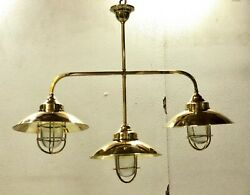 Nautical Antique Ship New Brass Hanging Triple Retro Light With Shade Lot Of 10