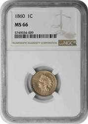 1860 Indian Cent Ms66 Ngc