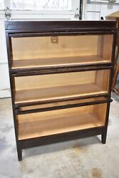 Macey Antique Mahogany 3 Stack Barrister Lawyer's Bookcase