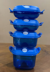 Tupperware Square Heat N Serve Set Of 4-in Blue Color