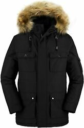 Wantdo Menand039s Puffer Jacket Thicken Winter Coat Parka Coat With Fur Hooded