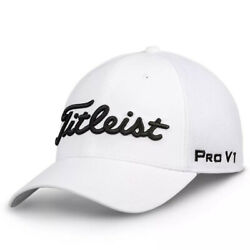 NEW Titleist Golf Tour Mesh Staff Fitted Cap White Choose Size $19.99