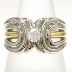 Platinum 900 18k Yellow Gold Ring11.5size Diamond About13.1g Free Shipping Used