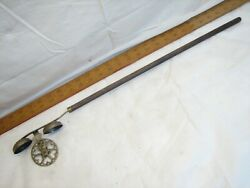 Antique Carnival Cane Push Pull Wheel Bell Toy Carnie Stick Cast Iron Victorian