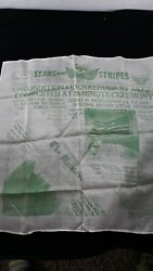 Vintage Ww2 Stars And Stripes Unconditional Surrender By Japs Silk Scarf Green