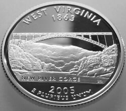 2005-s State Quarter Silver Proof West Virginia Wv No Problem Coin