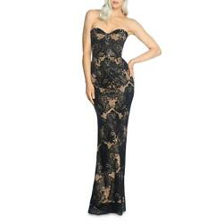 Dress The Population Womens Nicolette Black Lace Evening Dress Gown XS BHFO 7581 $38.99