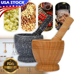 Marble Mortar And Pestle Set Grinder Bowl For Guacamole Herbs Spice Kitchen Tool