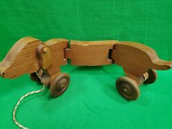 Vintage Toycraft Wooden Dog Pull Toy - Collectible Children's Wood Toy On Wheels