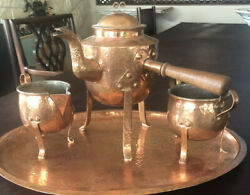 Antique 4 Piece Arts And Crafts Hammered Copper Coffee/tea Set