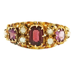 Antique 15ct Yellow Gold Garnet, Amethyst And Pearl Cluster Ring Size L 8mm Wide