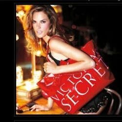 VICTORIA#x27;S SECRET Large Tote Red Shiny Bag With Pink Lettering Large Bow NWOT $36.99