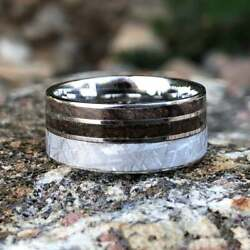 Gibeon Meteorite Wedding Ring W/ Redwood Inlay Authentic T-rex Fossil Inlay