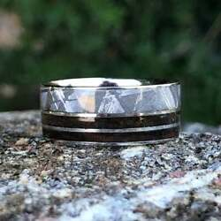 Gibeon Meteorite Wedding Band - 10mm Authentic Double T-rex Fossil Inlay