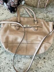 Beige Leather Crossbody COACH Purse Handbag $24.00