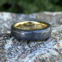 14k Gold Gibeon Meteorite Wedding Band Stardust Rings - 6mm Authentic Genuine