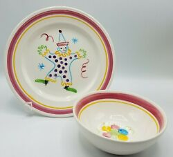 Stangl Circus Clown Childand039s Kiddieware China Plate And Bowl Vintage Usa