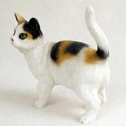 SHORTHAIRED CALICO CAT Figurine Statue Hand Painted Resin Standing
