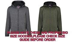 Kam Big Tall Size Knitted Sherpa Lined Zip Through Hoody Removeable Hood Hoody