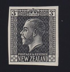 New Zealand Sc 164p 1919 3d Kgv Typographed Plate Proof In Black