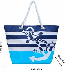 Waterproof Beach Bag Extra Large Summer Tote Top Magnet Blue Size X Large XX81 $9.99