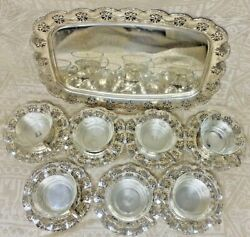 13 Vintage German Silver Plated Tea Cup Holders, 13 Glass Cups, 7 Saucers And Tray
