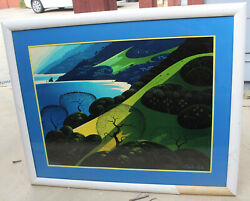 Eyvind Earle Above The Sea Art Print Serigraph Signed And Numbered 32x24
