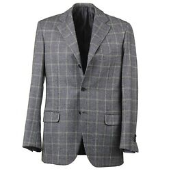Brioni Regular Fit Gray Layered Glen Check Soft Brushed Flannel Wool Suit 40r