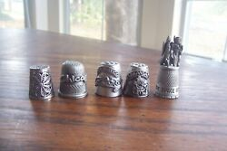 5 Vintage Collectible Thimbles 3 Pewter And 1 .925 Silver