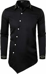 VATPAVE Mens Slim Fit Embroidered Shirts Long Sleeve Button Down Casual Shirts