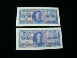 Ceylon 2x 1942 10 Cents Banknotes Consecutive Serial Numbers Au Pick43a