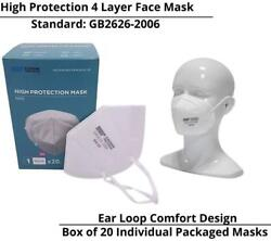 Kn95 Face Mask Everwin Flat Fold Ear Loop 4 Layer High Protection - Box Of 20