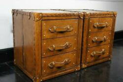 Antique Pair Of Handmade Leather 3 Draw Trunks Chest Coffee Table Trunk Box