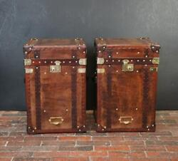 Antique Inspired English Handmade Tall Leather Occasional Side Table Chests C