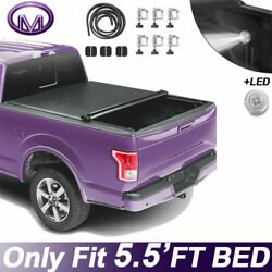 Roll Up 5.5 Ft Bed Soft Tonneau Cover Fit For 09-20 Ford F150 Truck On Top W/led