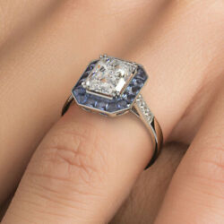 2ct Radiant Cut Antique Art Deco Sapphier And Diamond Engagement Ring Setting ...