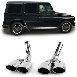 Chrome Finish Exhaust Tail Pipe Trims Tips For Mercedes G Class W463 G500 And G55